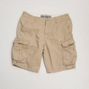 Old Navy men cargo tan shorts Waist 33